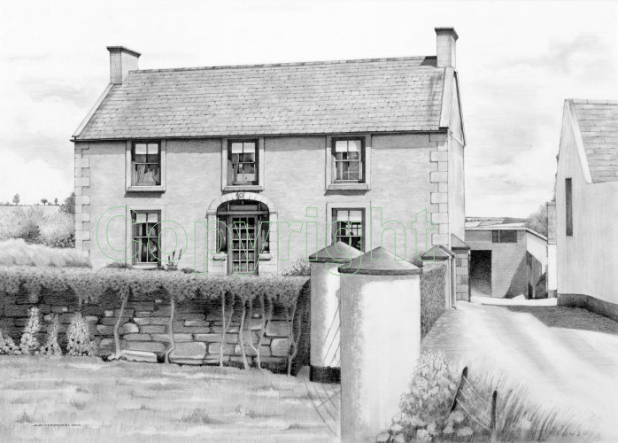 Pencil Artistry By Alan Stammers Enlarged Irish Farmhouse Drawing